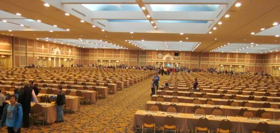 The Cavernous Hall for Playing Blitz - how much time did it take to set up a 1000 boards with pieces :-)