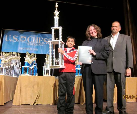 2013 Super Nationals K-9 Chess Champion Akshat Chandra with Dr. Root representing University of Texas, and Mr. Bill Hall, Executive Director, US Chess Federation